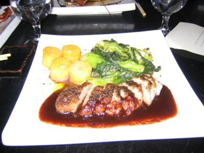 Grilled Duck with Fried Polenta Cakes and Bok Choy